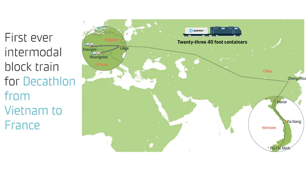 Maersk Block Train for Decathlon from Vietnam to France