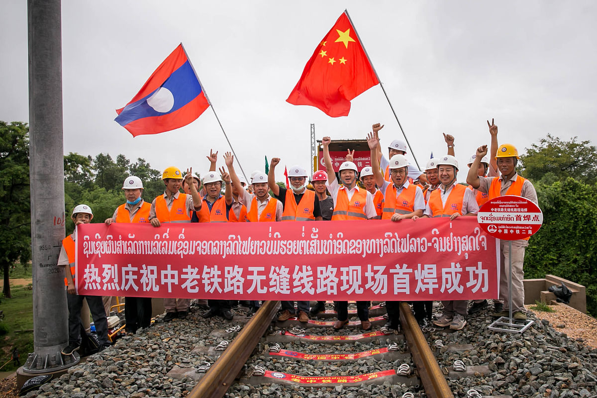 Rails Track Completed in China Laos Railway in Vietnam