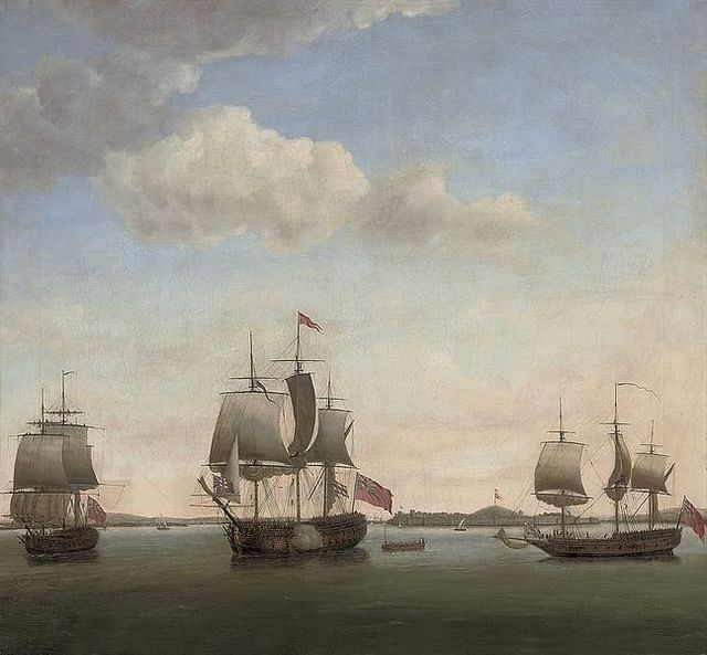 English fleet attacking Suvarnadurg, Konkan Coast