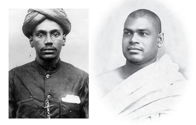 Young V O Chidambaram Pillai, left, and Swami    Ramakrishananda.