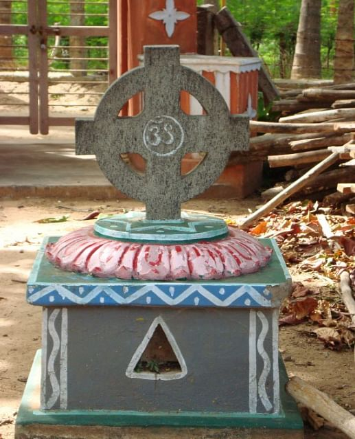 Aum crucified in the Cross: Shantivanam