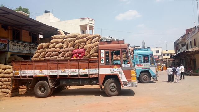The APMC yard provides various facilities including storage of onions and potatoes.