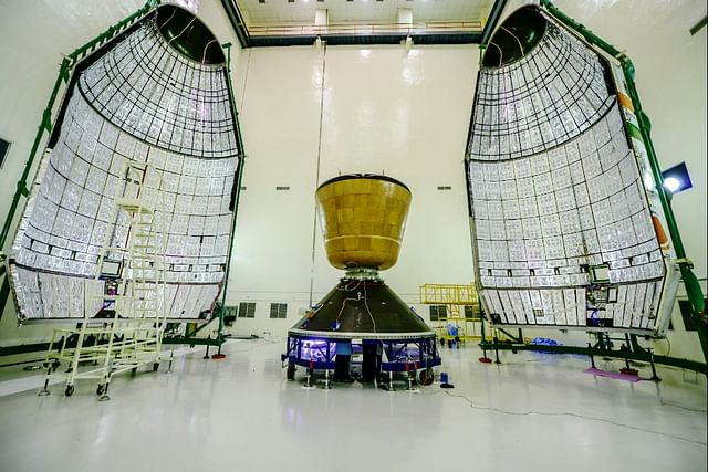A version of the crew module in the agency's clean room before its launch on 18 December 2014 atop a version of GSLV Mark-III. The launch was part of the 'Crew module atmospheric re-entry experiment'.