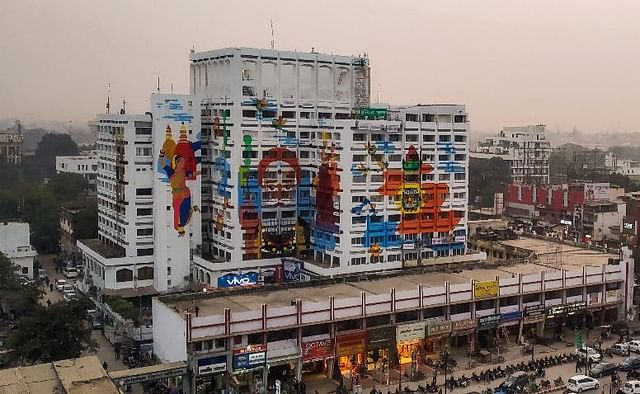 Indira Bhawan building after it was painted during Prayagraj art festival