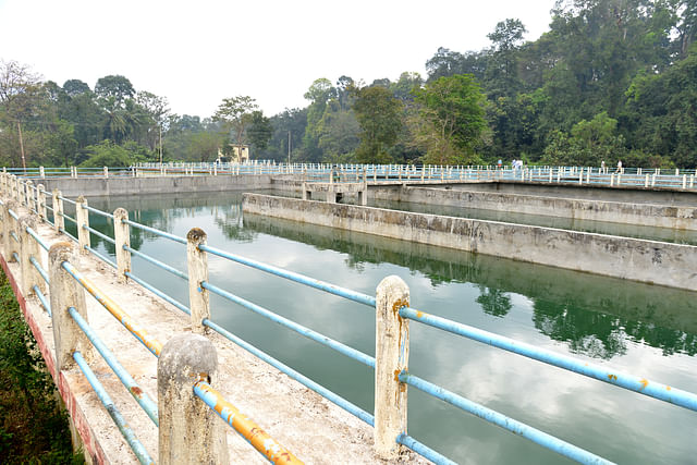 The water tanks near the temple which constitute the sewage treatment infrastructure, is currently in neglect.