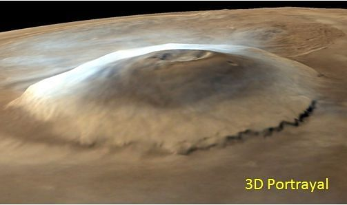 Olympus Mons - a large shield volcano on the planet Mars