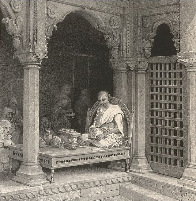 "<b>Prinsep's ""A Preacher Expounding the Poorans"" </b><b>in the temple of Annapurna (1831).</b>"