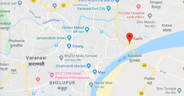 <b>Location of the ancient city of Kasi in the context of current day city called Varanasi.</b>