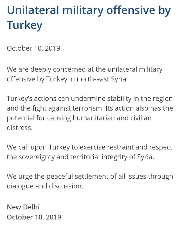 MEA statement on Turkish offensive.