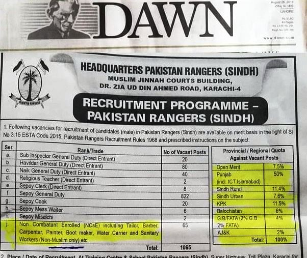 Controversial advertisement by Pakistan Rangers (Pic via Twitter)
