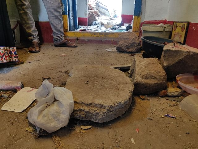 The stones that were thrown in Raju and Pushpa's house