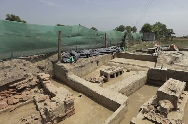 A scene from the excavated site at Sanauli (Source: @LiveHIndia/Twitter)