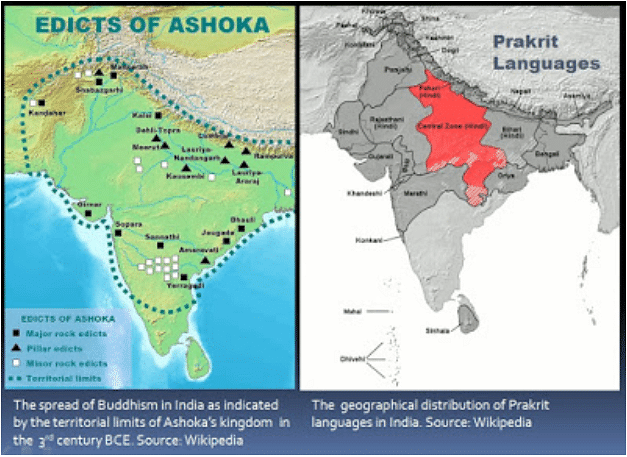 According to Misra, The geographical limits of Buddhism in India during the reign of Emperor Ashoka in the 3rd century BCE strongly correlates to the geographical distribution of Prakrit languages in India (Source: https://www.bibhudevmisra.com/2015/10/the-indus-valley-civilization-was-it.html)