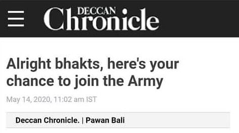 Alright Folks, Deccan Chronicle Thinks Only 'Bhakts' Would Be Interested In Joining Indian Army
