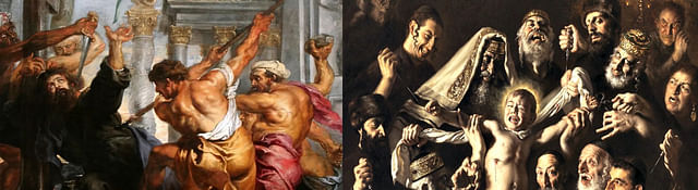 Left: 17th century painting showing fabricated account of murderous Hindu priests killing St Thomas used in 21st century (Dec, 2015) by Haaretz. Right: 21st century painting by Catholic painter Giovanni Gasparro showing fabricated account of blood libel on Jews.