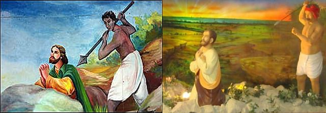 [Left] Mural of the 'martyrdom' of St Thomas with dark-skinned Hindu native treacherously killing the apostle-shown in the BBC report on 1999 Papal visit to India. [Right] A similar depiction of a Hindu treacherously killing St. Thomas as diorama kept in the Church exhibit.