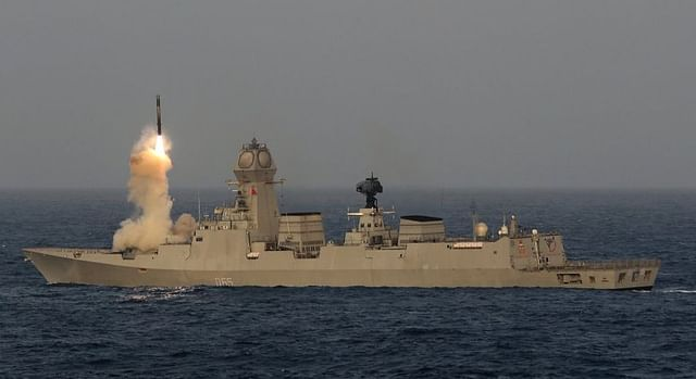 The BrahMos missile being test fired from INS Chennai.
