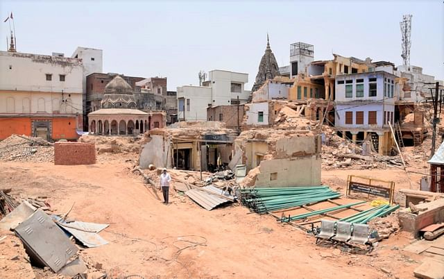 Work on at the Kashi Vishwanath temple premises as part of the Kashi corridor project