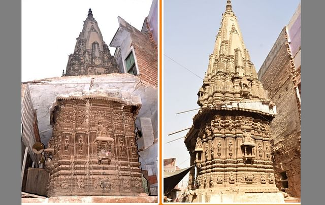Temples found during the clearance for the Kashi Corridor project. Left - Before , Right - After