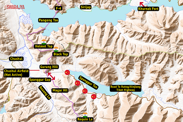 "Ladakh's Chushul Sector. All labels are only for representation and may not be very accurate. (Illustration: Swarajya Magazine/Map: <a href=""https://elevationmap.net/"">elevationmap.net</a>)"