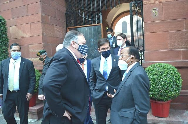 National Security Advisor Ajit Doval with US Secretary of State Mike Pompeo.