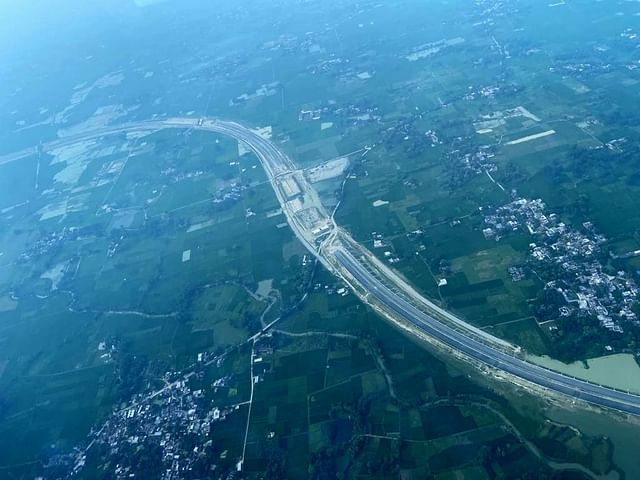 An aerial view of an under-construction expressway in Uttar Pradesh.