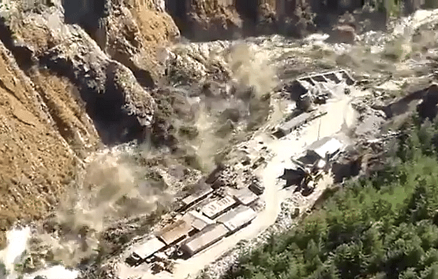 Watch: Broken Glacier Causes Flooding, Heavy Damage To Rishi Ganga Tapovan Hydro Power Project In Chamoli, Uttarakhand