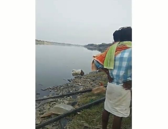 A still from a video that shows the boy's body floating in Bhima river on 25 February