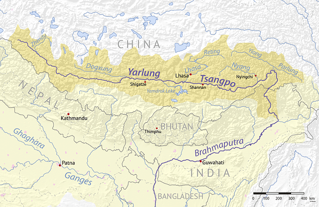 Map of the Yarlung/Brahmaputra River.
