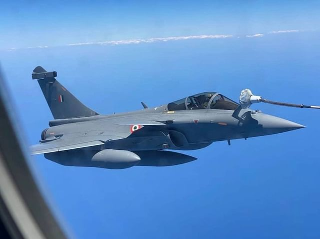 IAF's Rafale fighter being refueled mid-air