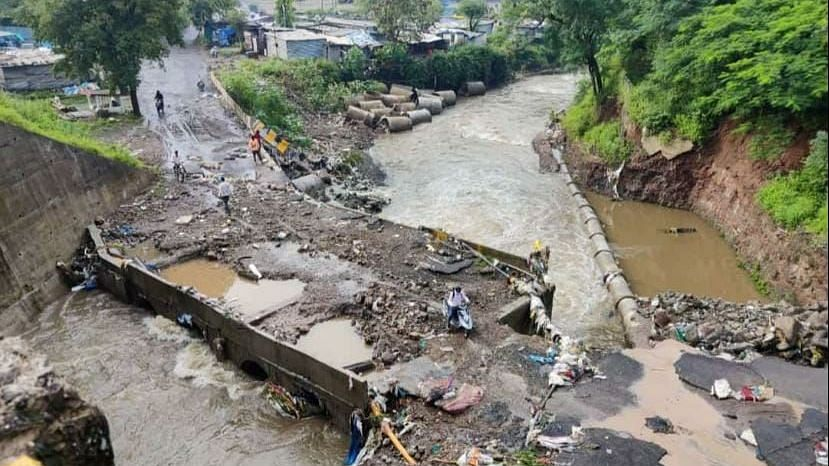 Pune: Bridge washed away due to heavy rain; Sinhagad Road locals worried