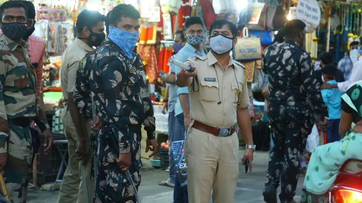Police keeping a check on social distancing norms