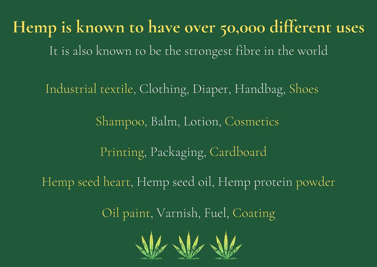 Different uses of hemp