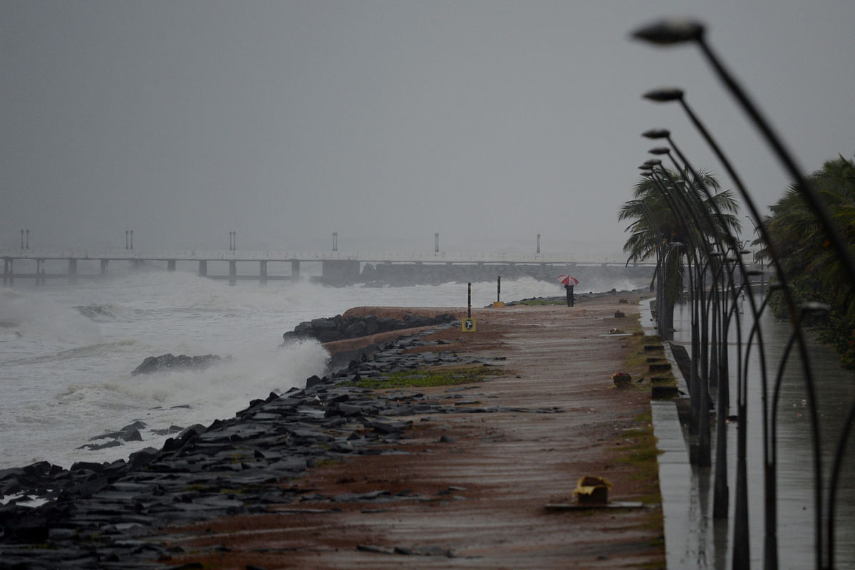 Cyclone Nivar approached the southeastern Indian coast in Puducherry