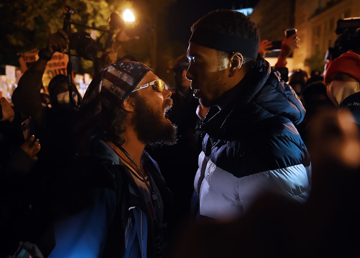 A Donald Trump supporter clashed with a demonstrator at Black Lives Matter
