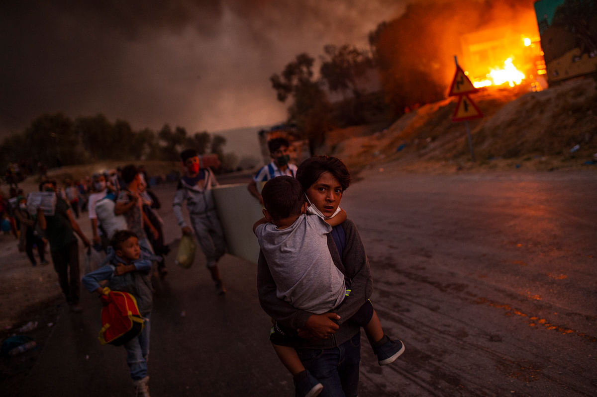 Fire broke out on the island of Lesbos
