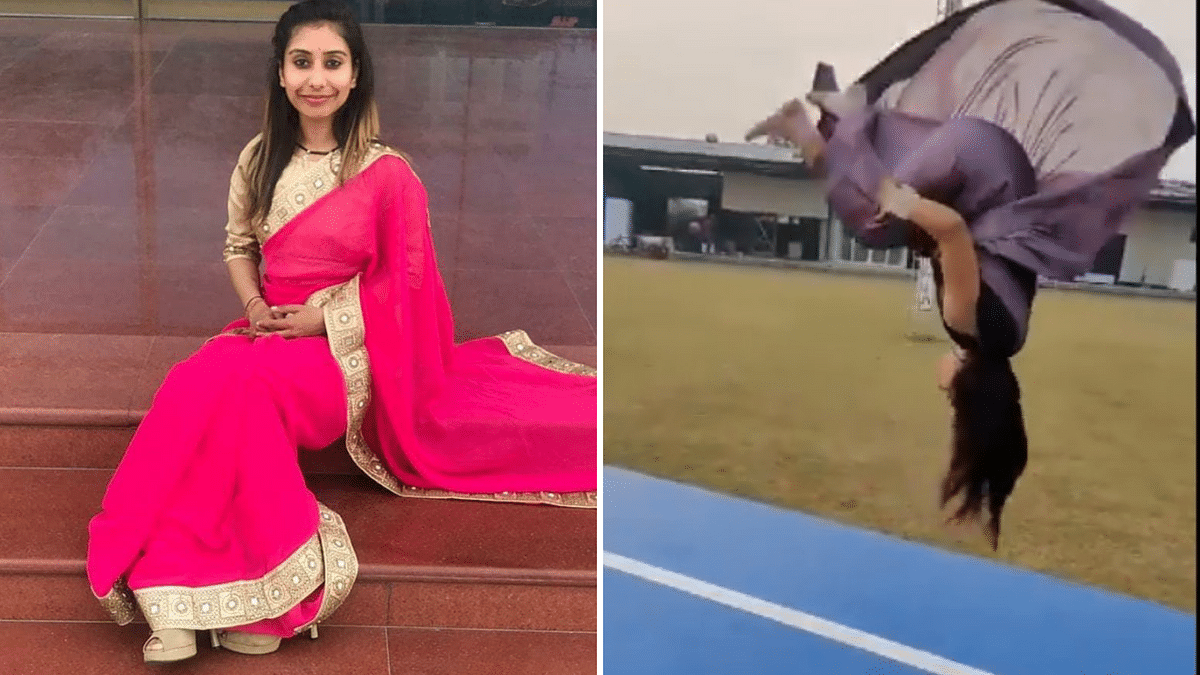 Watch video: This gymnast from Haryana can ace backflips in saree