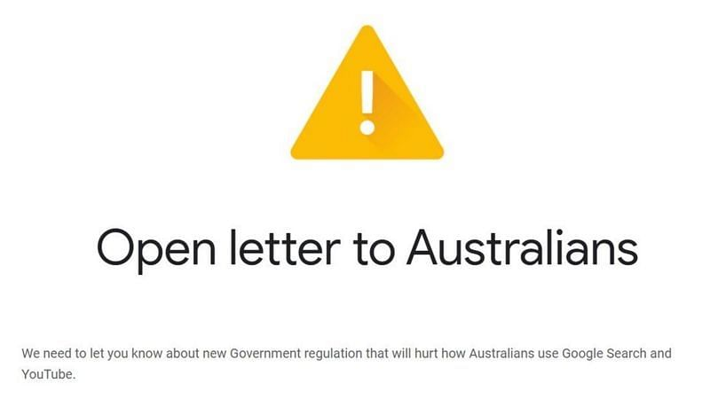 Google users in Australia found themselves staring at an open threat in the form of an advertising.