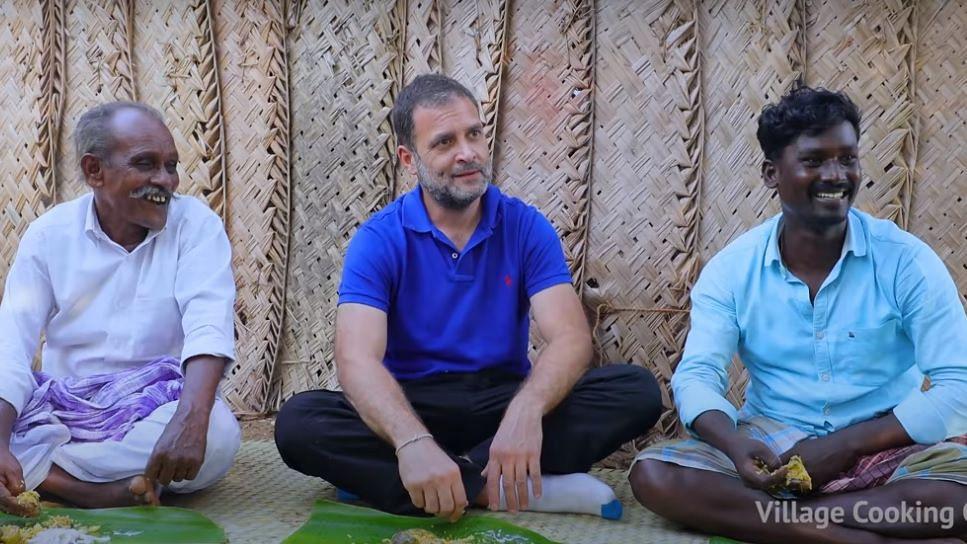 Watch video: Rahul Gandhi enjoys mushroom biryani with villagers in Tamil Nadu