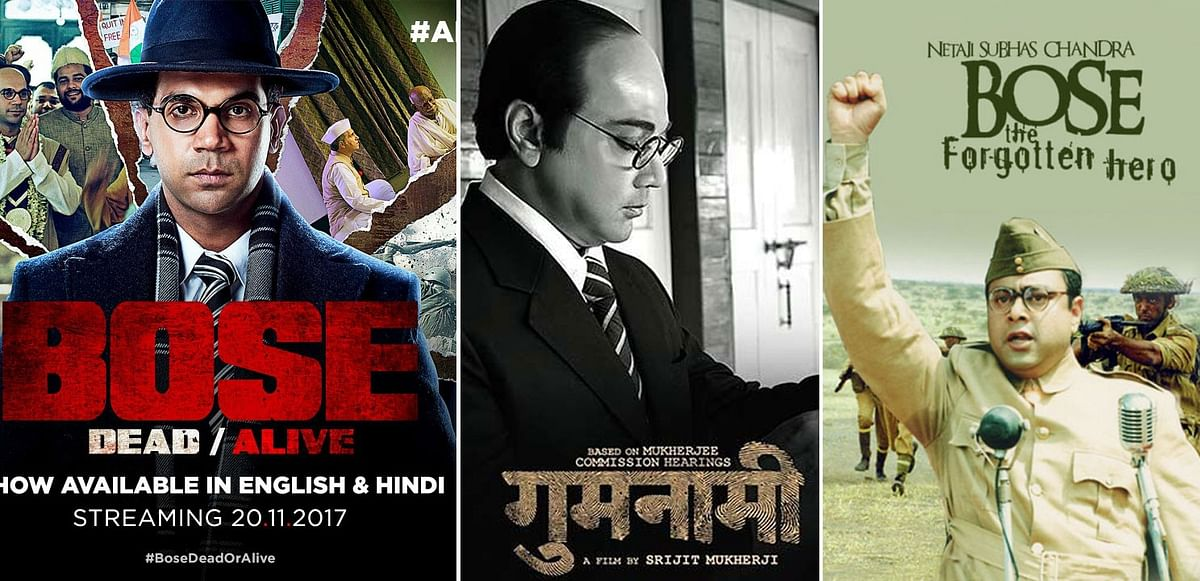 Posters of some of the most famous on-screen portrayals of Netaji Subhash Chandra Bose