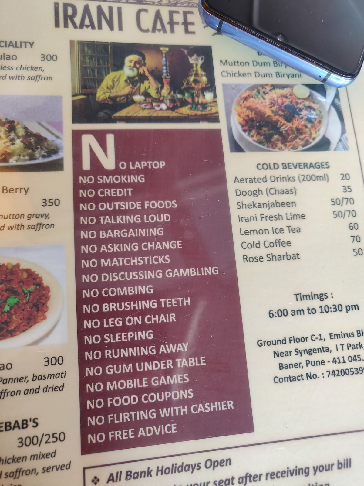 The menu at Irani Cafe in Pune