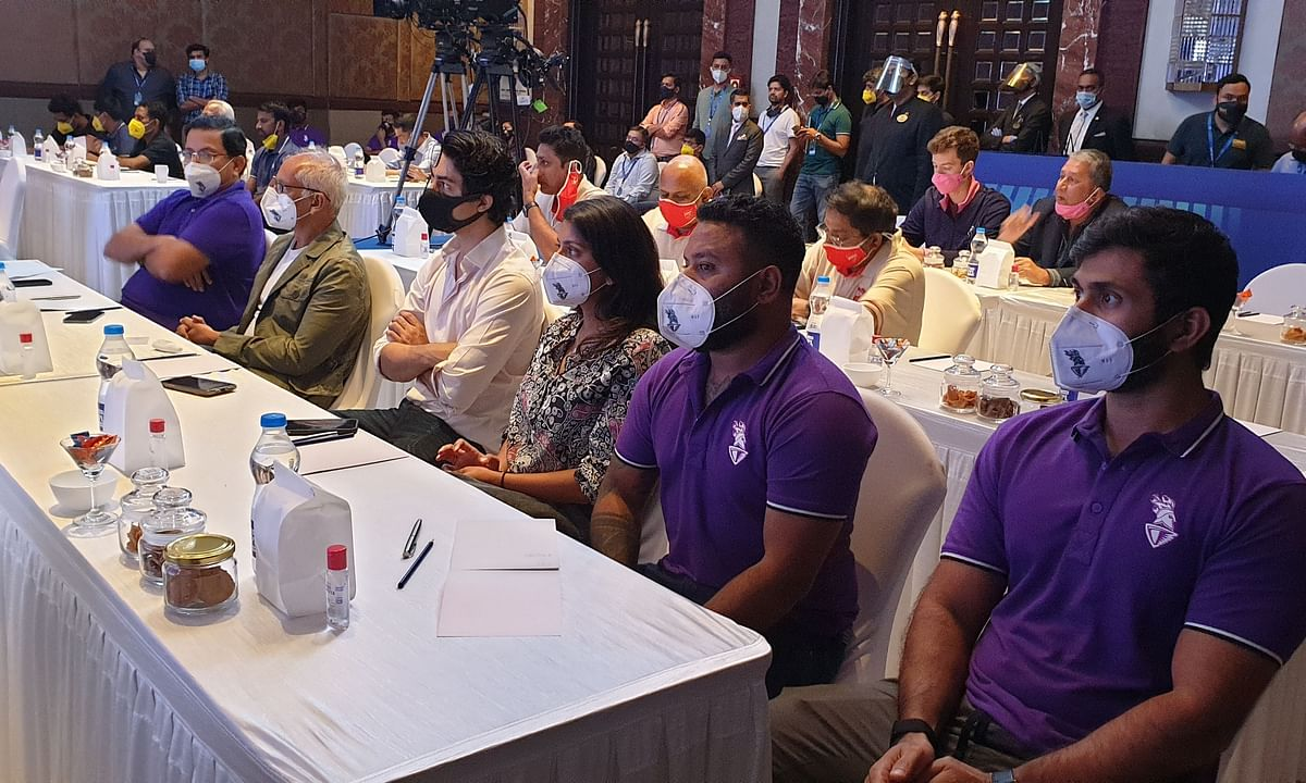 Shah Rukh Khan's eldest son Aryan and Juhi Chawla's daughter Jahnavi were spotted at the Indian Premier League's Player Auction Briefing in Chennai on Wednesday.