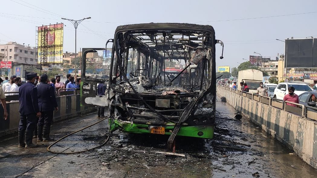 Pune: PMPML CNG bus catches fire after bike rams into it