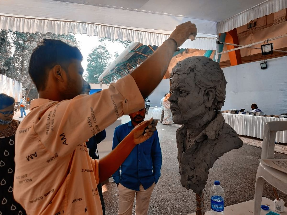 An artist sculpts Rohith Vemula's bust as a symbol of remembrance on his birth anniversary.