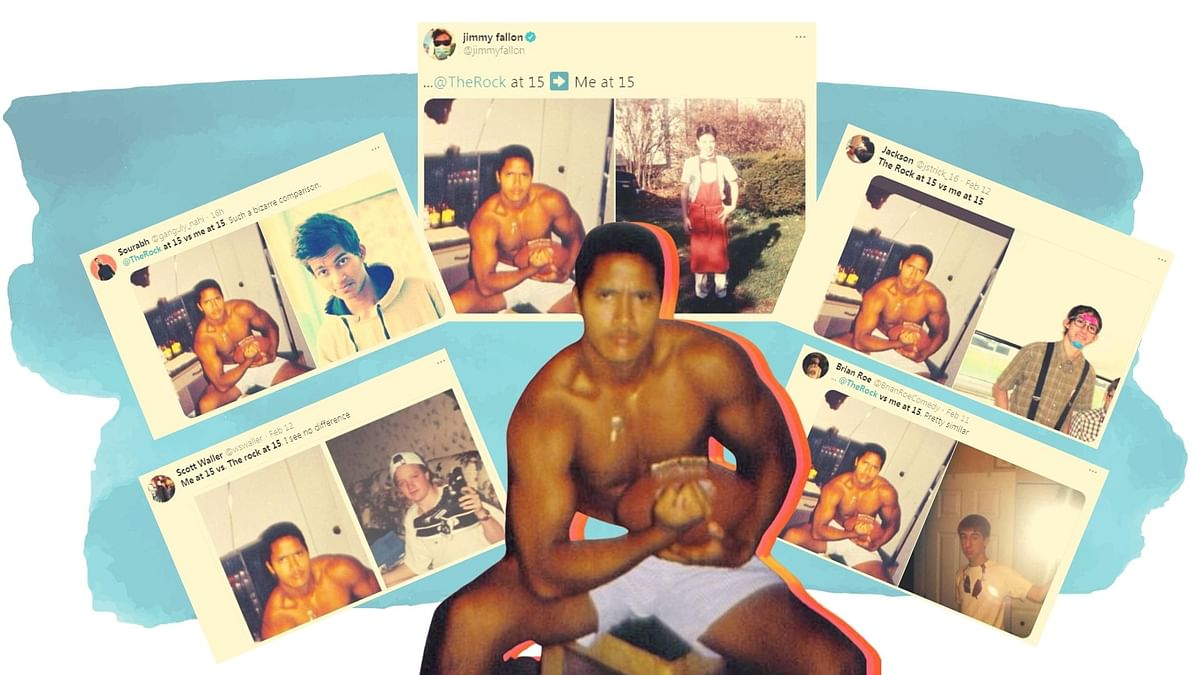 The picture of young Dwayne Johnson made its way to the Jimmy Fallon Show, and soon after started trending on Twitter.