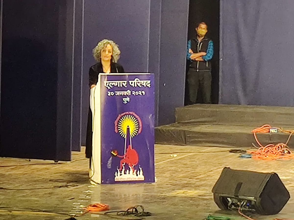 Booker Prize winning author Arundhati Roy delivering her speech at the Elgar Parishad 2021