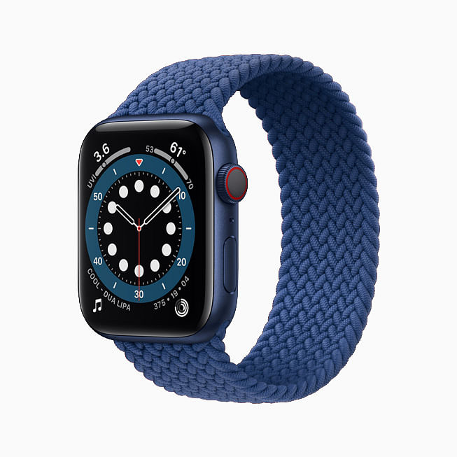 The Apple Watch Series 6 in Aluminum Blue finish.