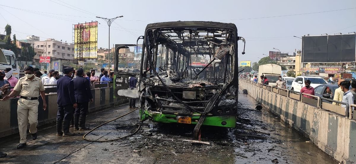 PMPML bus on fire