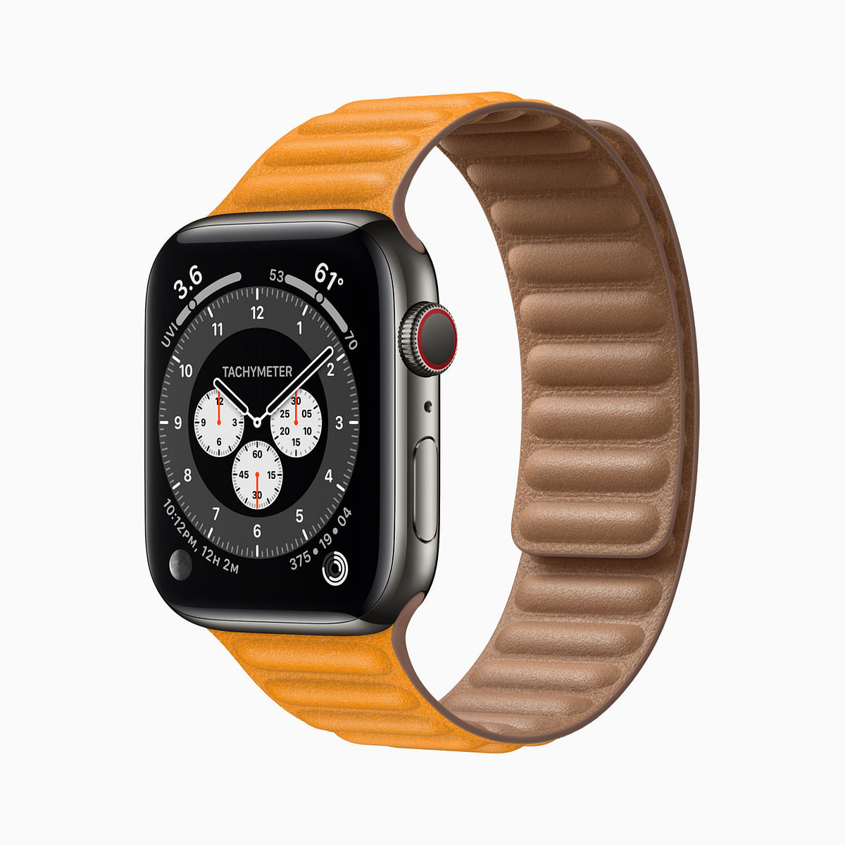 The Apple Watch Series 6 Stainless Steel with an orange band.