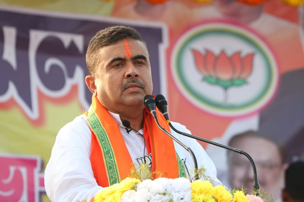 Suvendu Adhikari addressing the rally of BJP Booth Level Workers of the in Nandigram on March 16